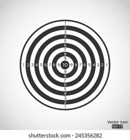 black and white dartboard vector icon