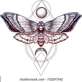 black and white deadhead butterfly on sacred geometry vector illustration