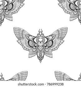 black and white deadhead butterfly seamless pattern