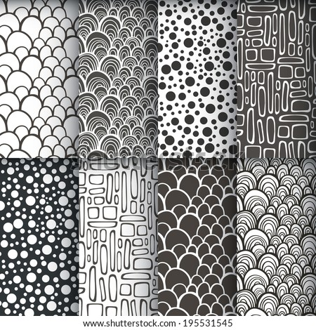 Black and white decorative doodle geometric seamless patterns set. Vector illustration