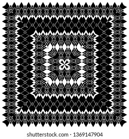 black and white decorative square ornament, can be used as a background