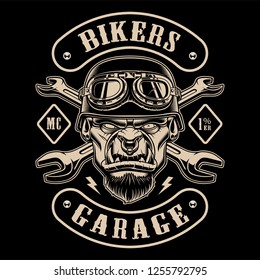 Black and white design of biker patch with the character. Text is on the separate layer.