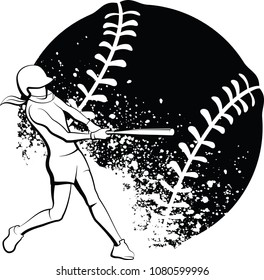 Black and White design of a female softball batter in mid-swing in front of a splattered ball.