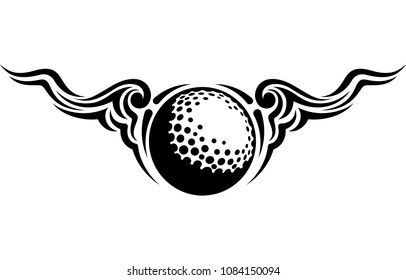 Black and white design of a golf ball with flowing curvy wings