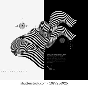 Black and white design. Pattern with optical illusion. Abstract 3D geometrical background. Vector illustration