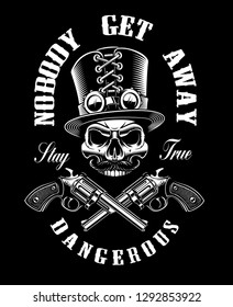 Black and white design with a skull and guns, in steampunk theme on the dark background.
