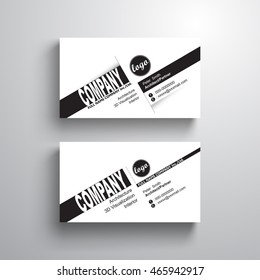 black white design typography name card template, business card, minimalist style, vector