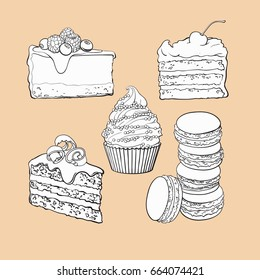 black and white Dessert collection - cupcake, chocolate and vanilla cake, cheesecake, macaroons, sketch vector illustration isolated on color background.
