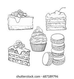 black and white Dessert collection - cupcake, chocolate and vanilla cake, cheesecake, macaroons, sketch vector illustration isolated on background. Hand drawn sweet desserts