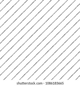 Black and white diagonal brush, chalk drawn textured pinstripes, streaks seamless repeat background, pattern. Tilted lines, inclined stripes, bars template. Striped dynamic monochrome endless texture.