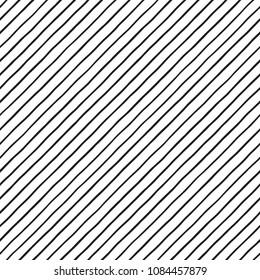 Black and white diagonal hand drawn uneven pinstripes, streaks seamless repeat background, pattern. Oblique, tilted lines, inclined stripes, bars template. Striped dynamic monochrome endless texture.