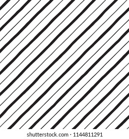 Black and white diagonal hand drawn uneven stripes, streaks seamless repeat background, pattern. Tilted doodle style lines, inclined pinstripes, bars of different width template. Striped texture.
