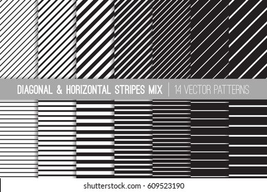 Black and White Diagonal and Horizontal Stripes Vector Patterns. Modern Striped Backgrounds. Set of Pin Stripes and Candy Stripes. Variable Thickness Lines. Pattern Tile Swatches Included.