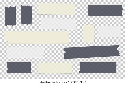 Black, white different size adhesive, sticky, masking, duct tape, paper pieces are on grey squared background