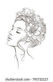 black and white digital ink illustration of a beautiful girl with flowers in her head