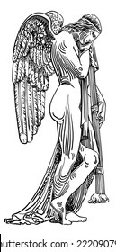black and white digital sketch drawing of marble statue sad angel in St. Peter's Cathedral, Rome, Vatican, Italy, vector illustration