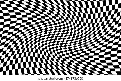 Black and white distorted checkered pattern background. Vector illustration of black and white squares. Torsion, twist, rotary deform, gyration, revolve checkerboard graphic. Racing finish flag.