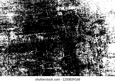 Black And White Distressed Grunge Vector Overlay Template. Dark Paint Weathered Texture. Abstract Dirty Creative Design Backdrop Element