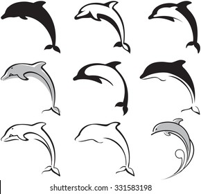 black and white dolphins set for your design