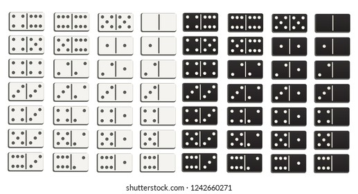 Black and white domino full set in flat design style. Abstract concept 28 pieces for game graphic element. Vector illustration EPS10