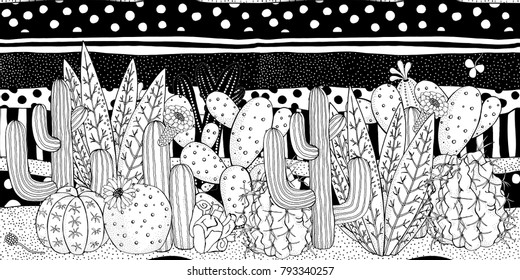 Black and white doodle cactus and memphis black and white pattern Prickly pear, agave, saguaro, cactus flower. Adult Coloring book page.