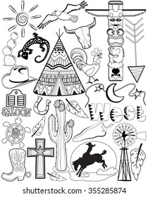 black and white doodle coloring therapy page western theme