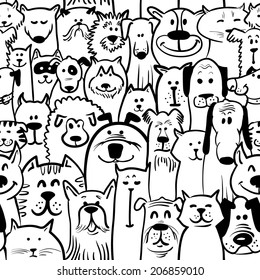 Black and white doodle dogs and cats seamless