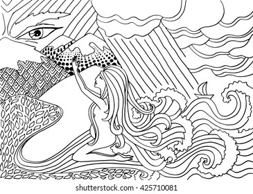 Black and white doodle illustration. Legends of Baikal. Angara river. Pregnant woman praying. Siberian fairy tales