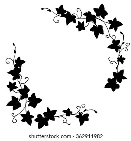 Black and white doodle ivy leaves pattern