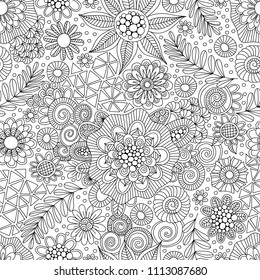 Black and White Doodle Repeat Pattern
