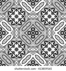 Black and white doodle sketch seamless pattern, repeating monochrome graphic lace texture. Tribal ethnic ornament. Vector decorative geometric background