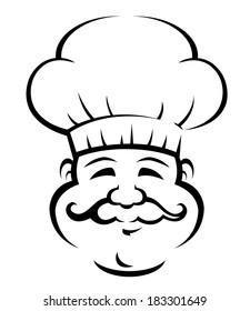 Black and white doodle sketch of a smiling chef or baker logo with a large curly moustache wearing a traditional white toque