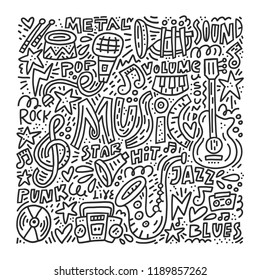 Black and white doodle style illustration with music symbols. Perfect illustration for music festival or for coloring book.