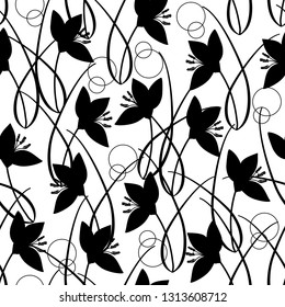 Black and white doodle vector seamless pattern wiht crocus plants, flovers, leaves. Hand drawing inspired by spring lawn.
