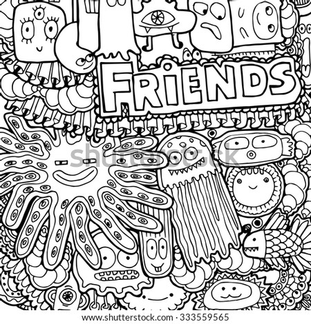 9ed19e9af Vetor stock de Black White Doodles Background Fun Monsters (livre de ...