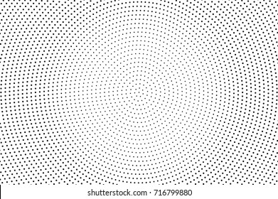 Black white dotted halftone background. Halftone pattern. Black dot on transparent overlay. Monochrome dotted vector illustration. Vintage horizontal halftone gradient. Pop art dotted texture
