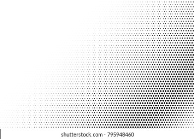 Black white dotted halftone vector background. Faded dotted gradient. Monochrome halftone pop art design. Abstract grayscale halftone texture. Black ink dot vintage overlay. Retro halftone template
