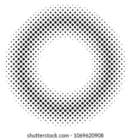 Black and white dotted texture. Round halftone vector background. Sparse dotted gradient. Abstract monochrome halftone for pop art design. Black ink dot vintage overlay. Retro halftone template.