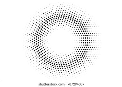 Black and white dotted texture. Round halftone vector background. Sparse dotted gradient. Abstract monochrome halftone for pop art design. Black ink dot vintage overlay. Retro halftone template