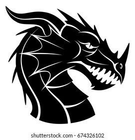 Black and white dragon head