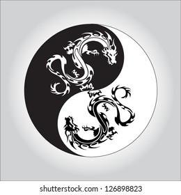 black and white dragon in Yin yang symbol