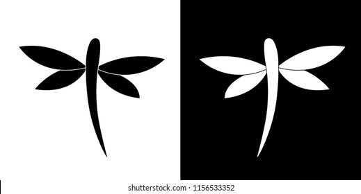 Black and White Dragonfly Icons, Vector Design