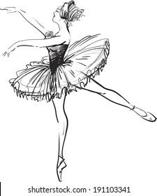 black and white drawing ballerina on a white background,sketch,vector.