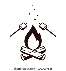 Black and white drawing of bonfire and marshmallows on stick. Simple retro style camping illustration, isolated vector clip art.