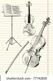 Black and white drawing of classical stringed music instruments