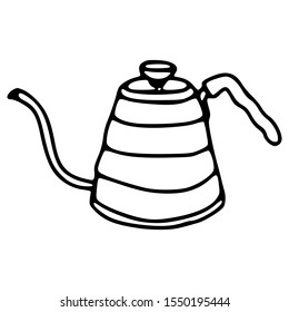 black and white drawing of coffee pot with hand drawing style