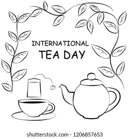 Black and white drawing of cup and teapot and tea bag. Silhouette of a cup of tea., teapot, tea bag, leaves. EPS8