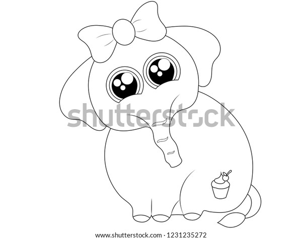 Black White Drawing Cute Baby Elephant Stock Vector Royalty Free 1231235272