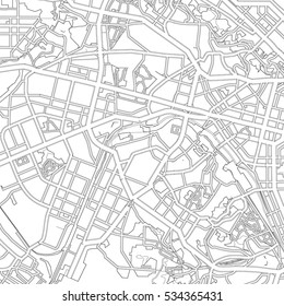 black and white drawing of a map of the city of Kiev. Vector Illustration