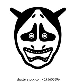 Black and white drawing of a mask - japanese devil.